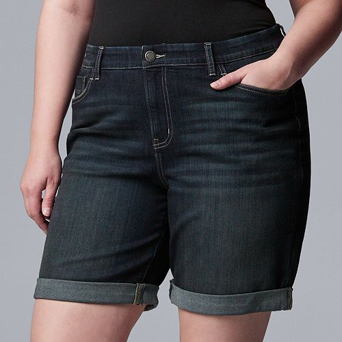 Plus Size Simply Vera Vera Wang Roll Cuff Bermuda Shorts