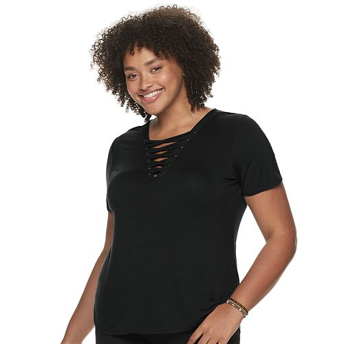 Juniors' Plus Size Mudd® Short Sleeve Lace Front Tee