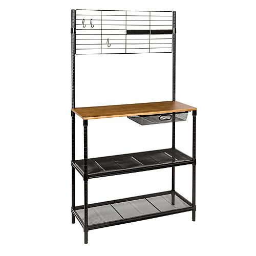Honey-Can-Do Bakers Rack, Cutting Board & Hanging Storage