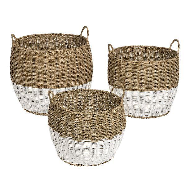 Honey Can Do Set Of 3 Nesting Round Seagrass Storage Basket Set