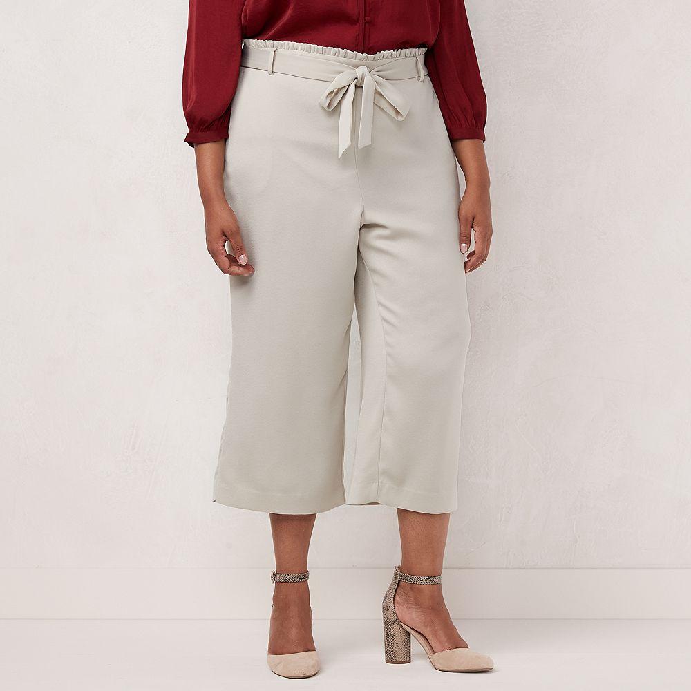 Plus Size LC Lauren Conrad Stripe Wide Leg Capris