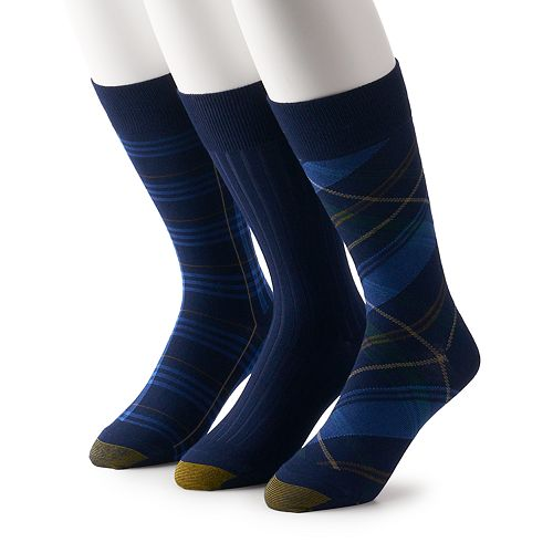 Men's GOLDTOE® 3 Pack Novelty SockBias Plaid Crew Dress