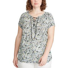 Plus Size Chaps Short Sleeve Lace Up Top