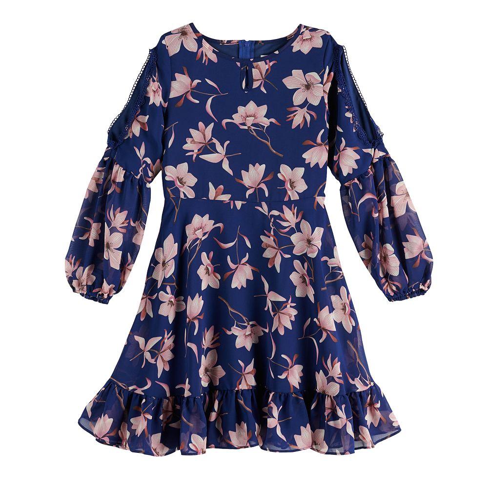 Girls 7-16 Lavender Blush By Us Angels Floral Chiffon Dress