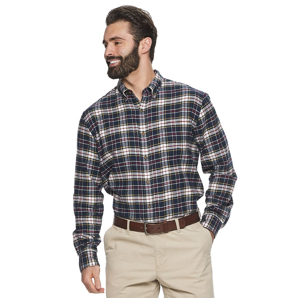 Big & Tall Croft & Barrow® Extra-Soft Flannel Button-Down Shirt