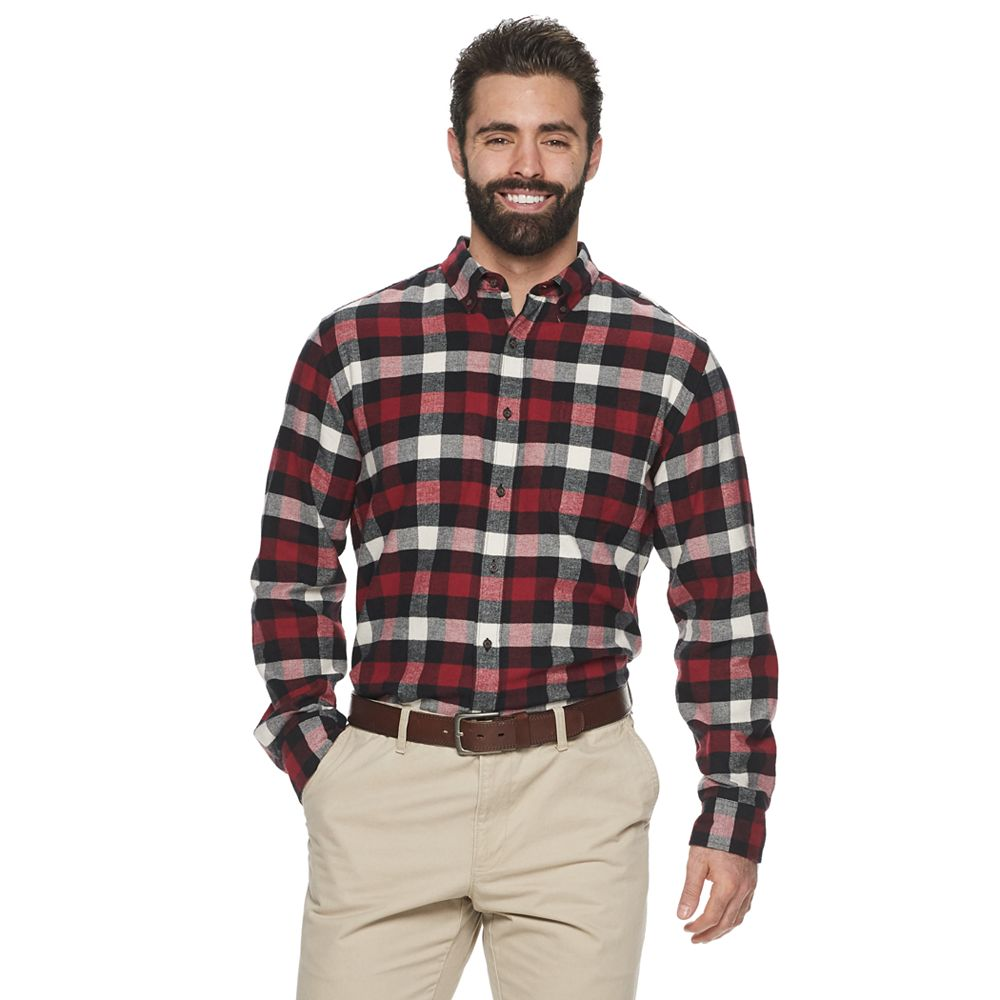 Big & Tall Croft & Barrow® The Extra Soft Slim-Fit Plaid Flannel Button-Down Shirt
