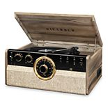 Victrola 6-in-1 Wood Empire Mid-Century Modern Bluetooth Record Player, CD, Cassette Player & Radio