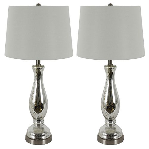 Pierce Glass Table Lamp 2 Piece Set