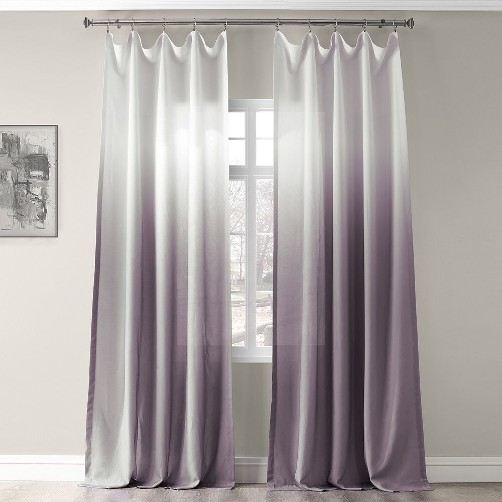 EFF Ombre Faux Linen Semi-Sheer Window Curtain
