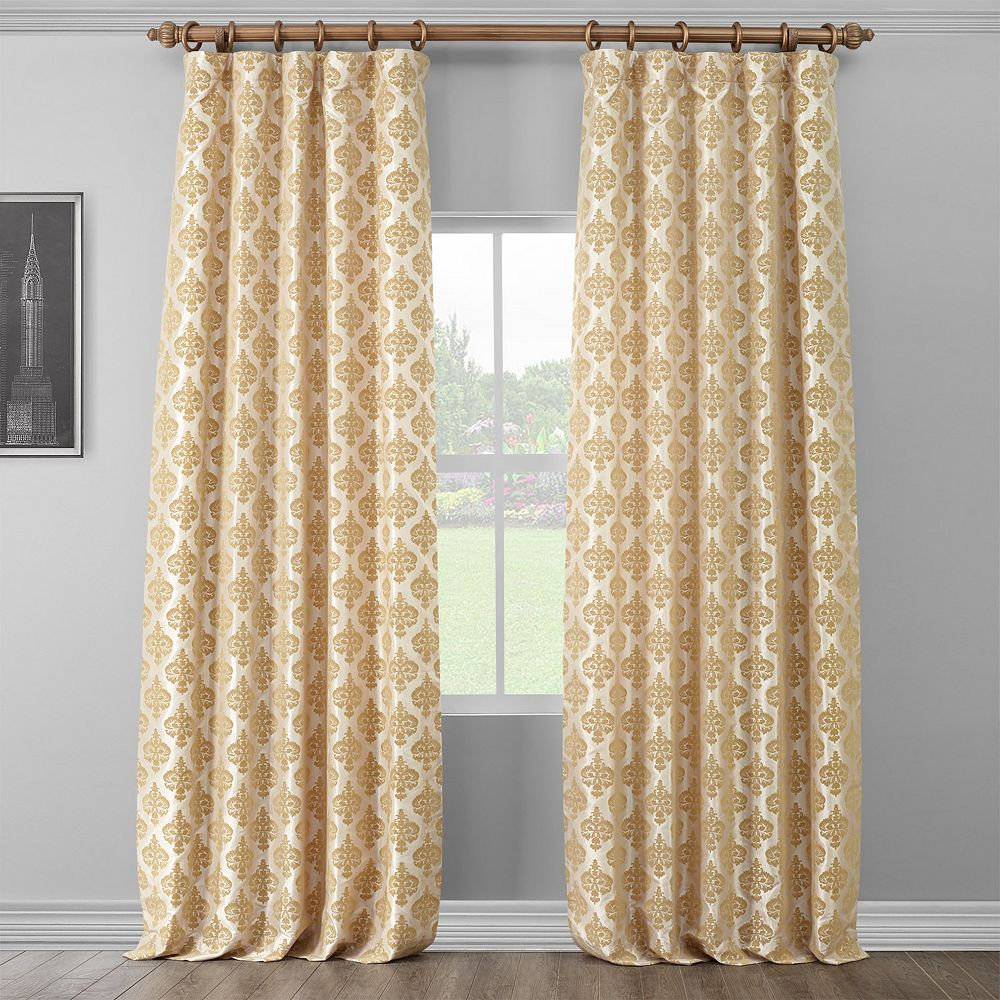EFF Beatrice Flocked Faux Silk Window Curtain