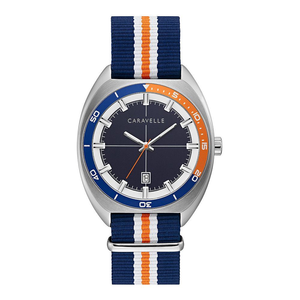 Caravelle by Bulova Men's Blue/Orange Nylon Strap Watch - 43B166