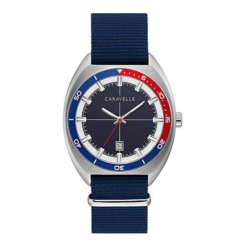 Caravelle by Bulova Men's Blue Nylon Strap Watch - 43B167