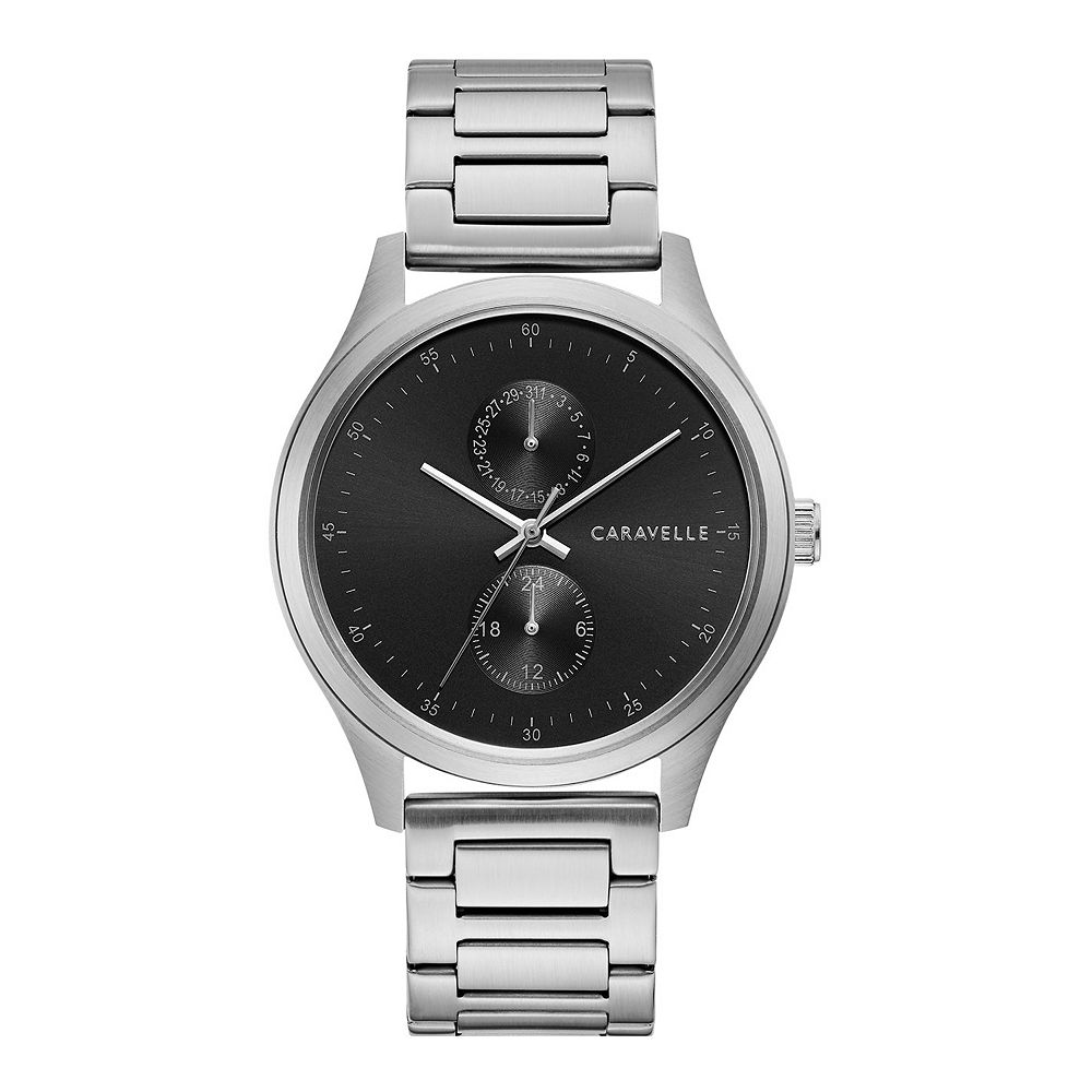 Caravelle by Bulova Men's Stainless Steel Black Dial Watch - 43C121