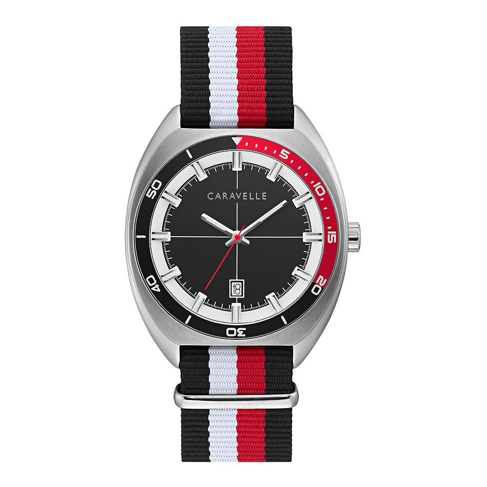 Caravelle by Bulova Men's Black & Red Strap Watch - 43B168