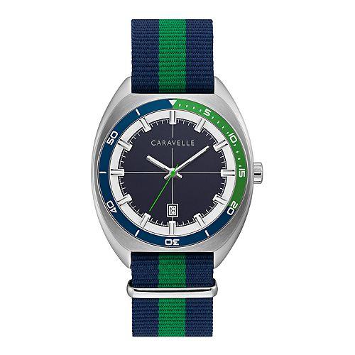 Caravelle by Bulova Men's Blue/Green Nylon Strap Watch - 43B169