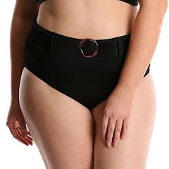 Plus Size Paramour Belted High-Waisted Bikini Bottoms