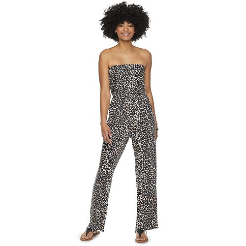 Juniors' Love, Fire Ruched Tube Knit Jumpsuit