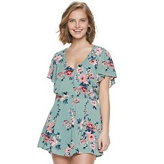 Juniors' Three Pink Hearts Button Front Romper