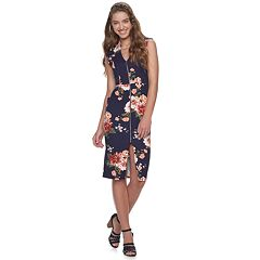 Juniors' Almost Famous Floral Patterned Sleeveless Drop Shoulder Dress