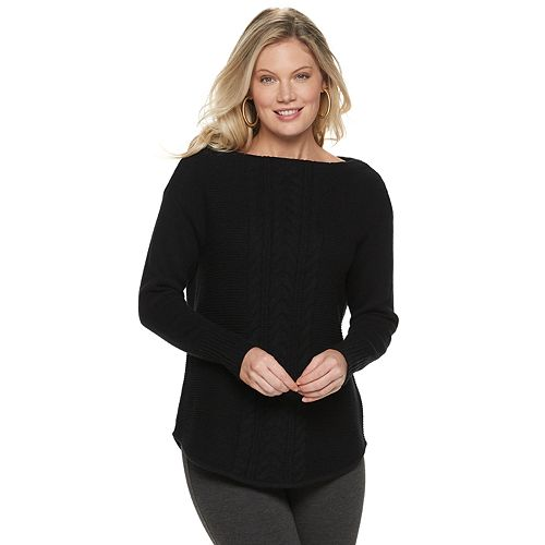 Women's Chaps Cable-Knit Boatneck Sweater