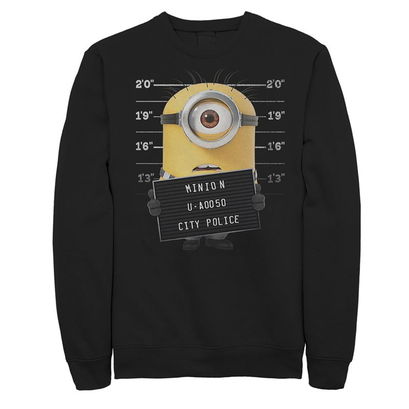Men's Minions Mugshot Sweatshirt, Size: XL, Black