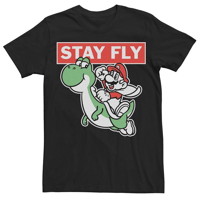 Men's Super Mario Bros Yoshi Stay Fly Tee, Size: XL, Black