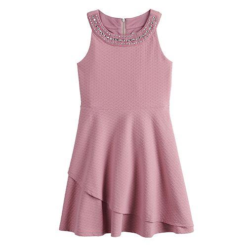 Girls 7-16 Lavender Embellished Skater Dress