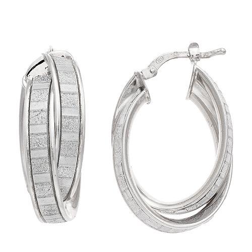 Sterling Silver Crossover Glitter Oval Hoop Earrings