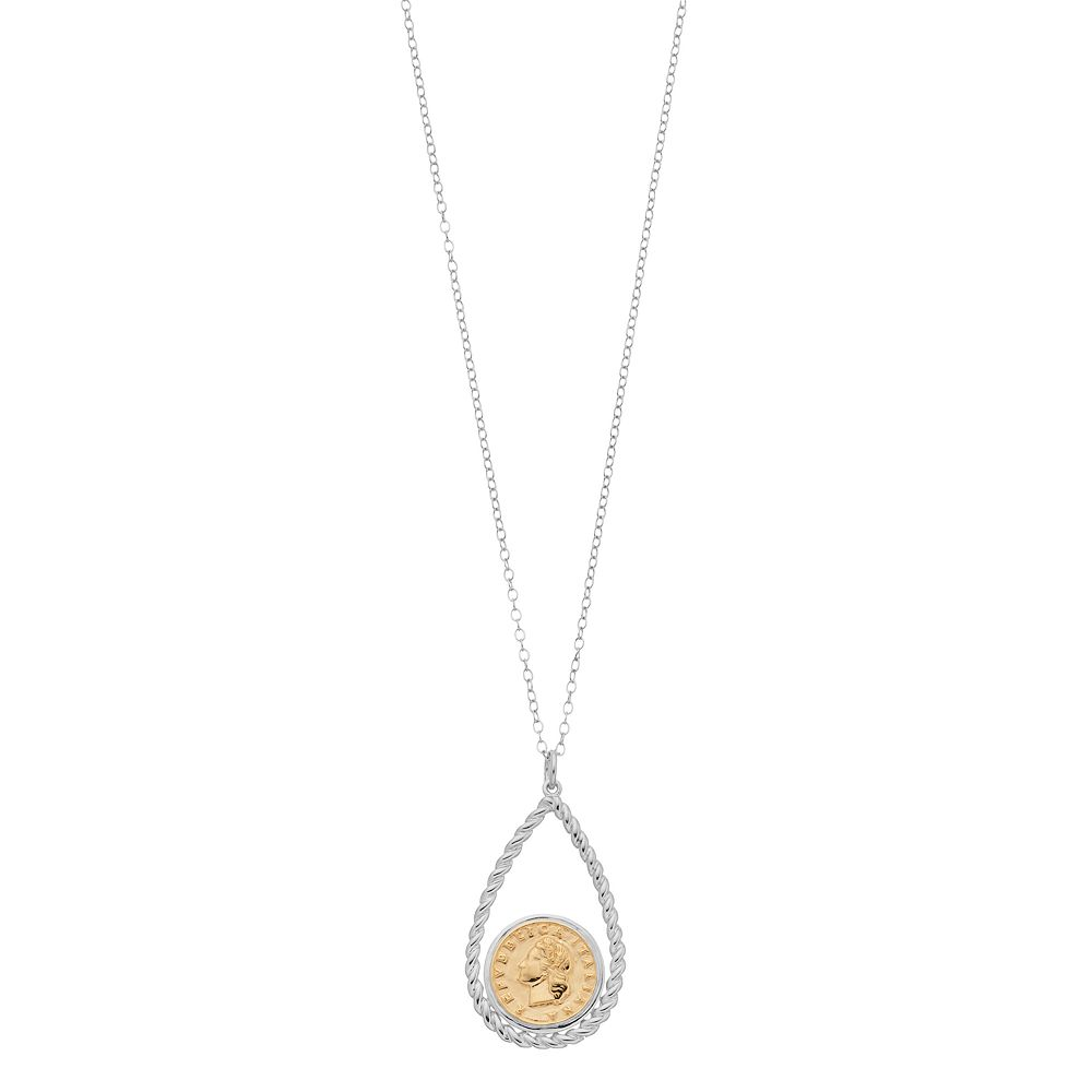 Sterling Silver Two-Tone Coin Replica Twisted Pendant Necklace