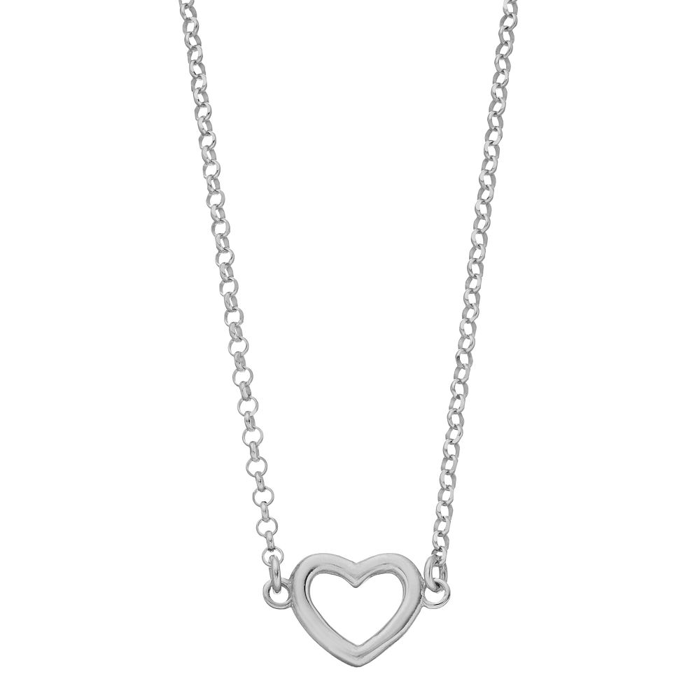 Sterling Silver Open Heart Station Necklace