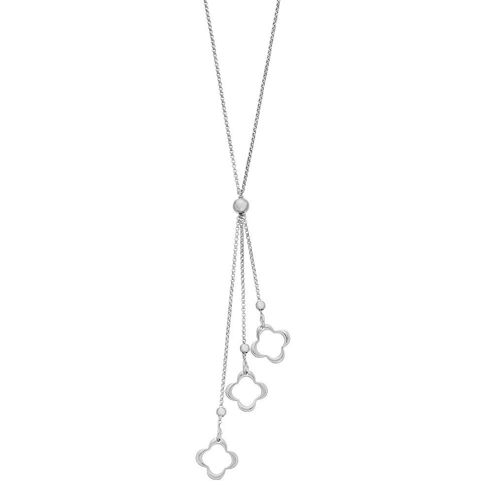 Sterling Silver High Polish Triple Quatrefoil Y Necklace