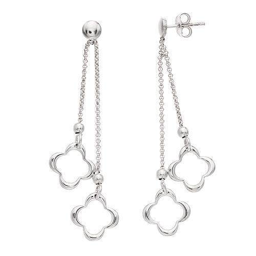 Sterling Silver Double Quatrefoil Drop Earrings