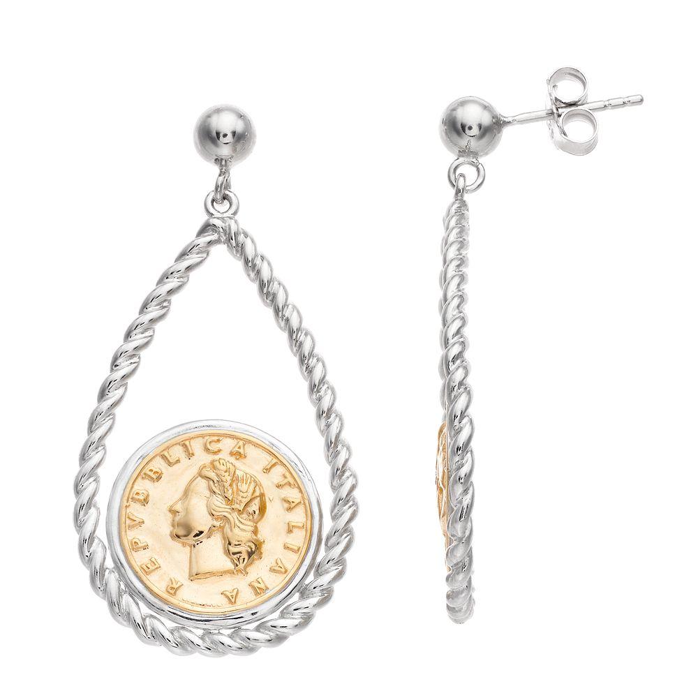 Two Tone Sterling Silver Replica Coin Drop Earrings