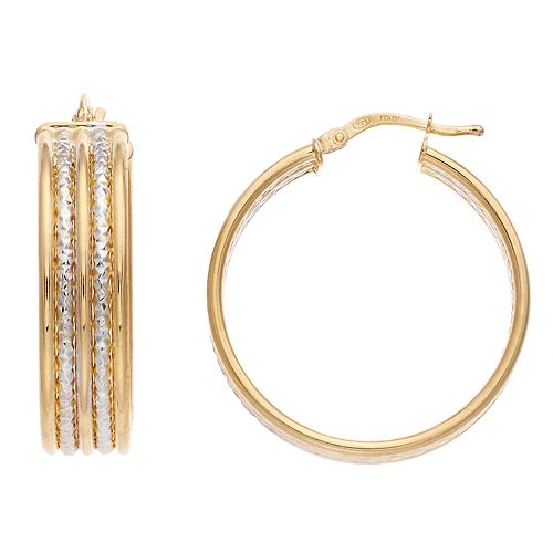 Sterling Silver Gold-Plated Two-Tone Double Hoop Earrings