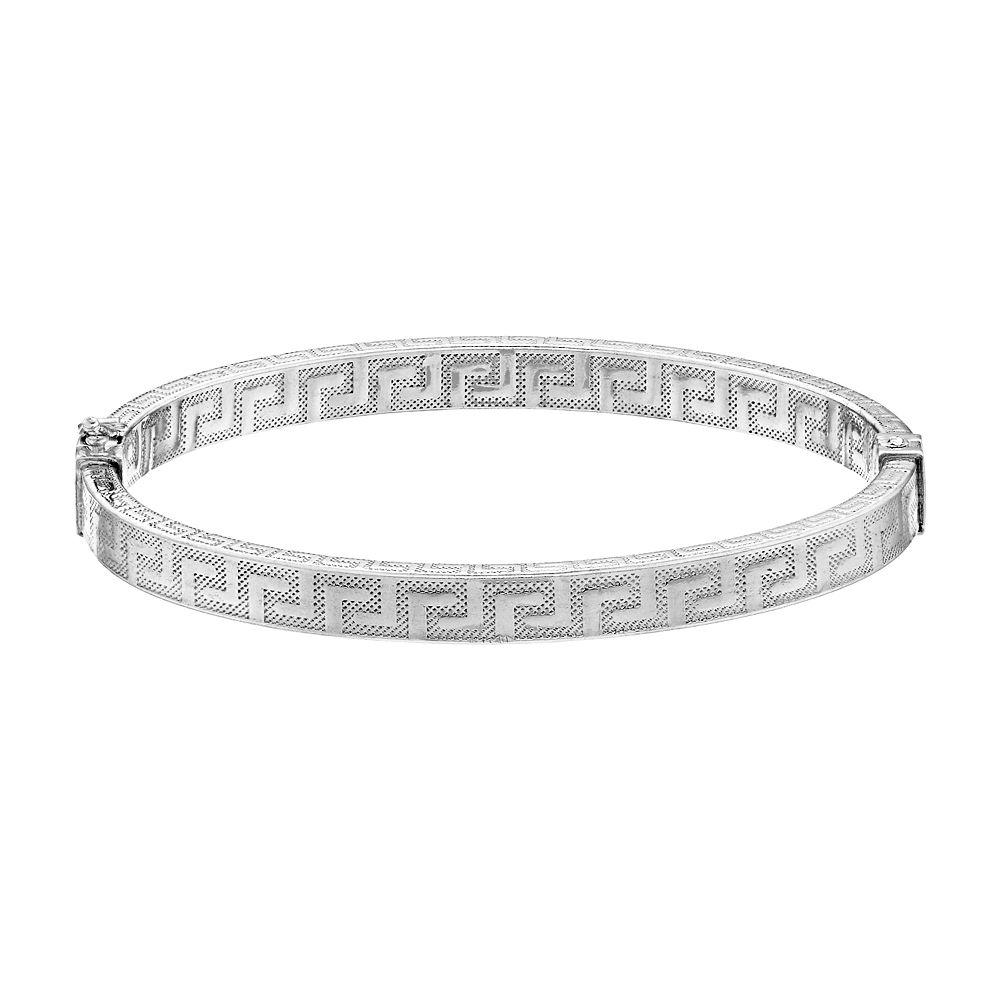 Sterling Silver Textured Greek Key Bangle Bracelet