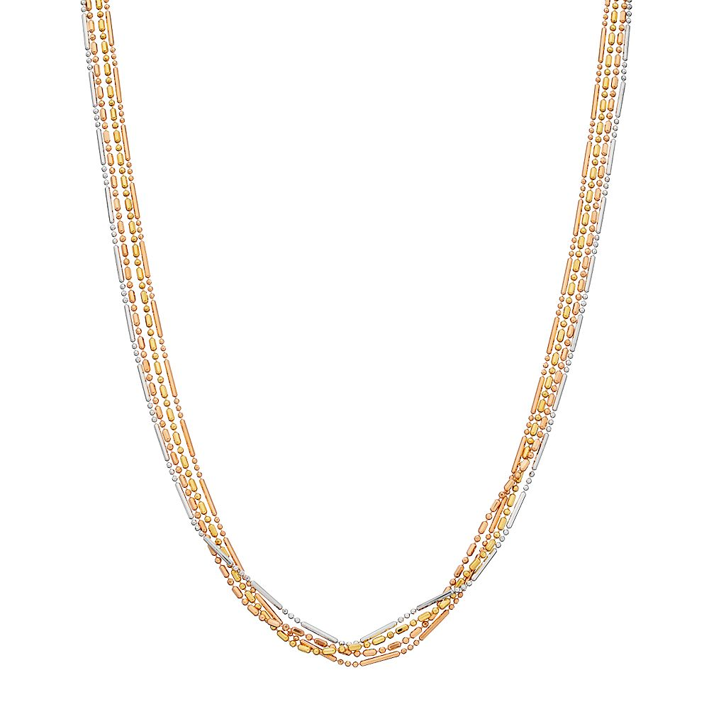 Sterling Silver Tri-Color Adjustable 4-Strand Beaded Necklace