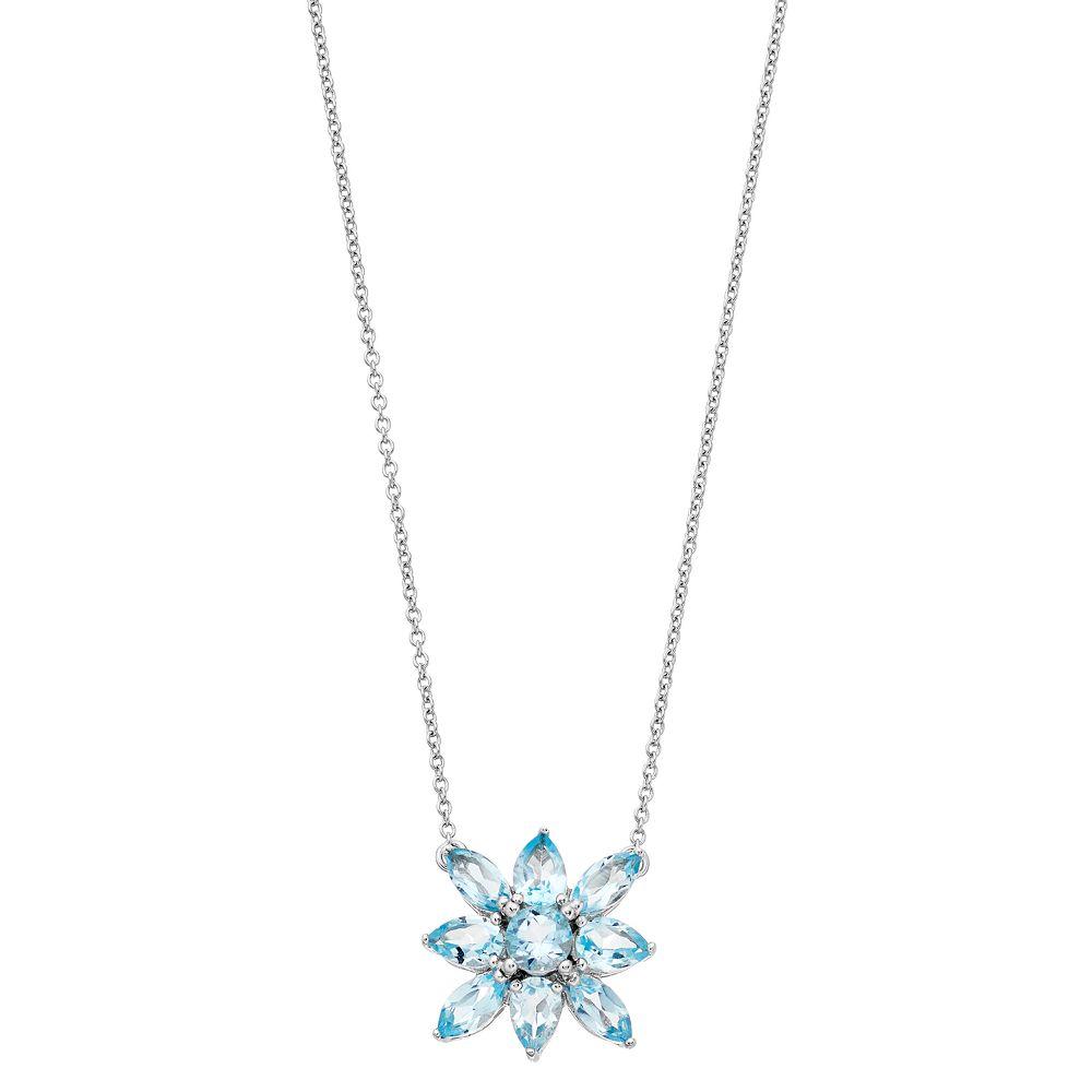 Sterling Silver Blue Topaz Flower Pendant Necklace