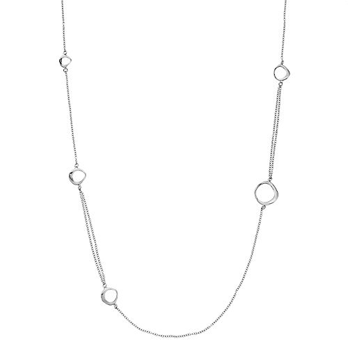 Sterling Silver Circle Accent Long Station Necklace