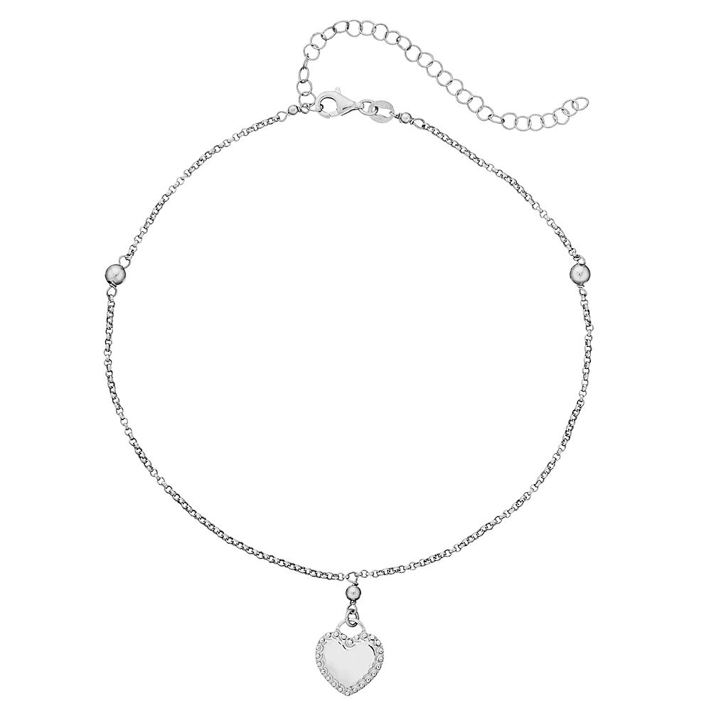 Sterling Silver Textured Heart Choker Necklace