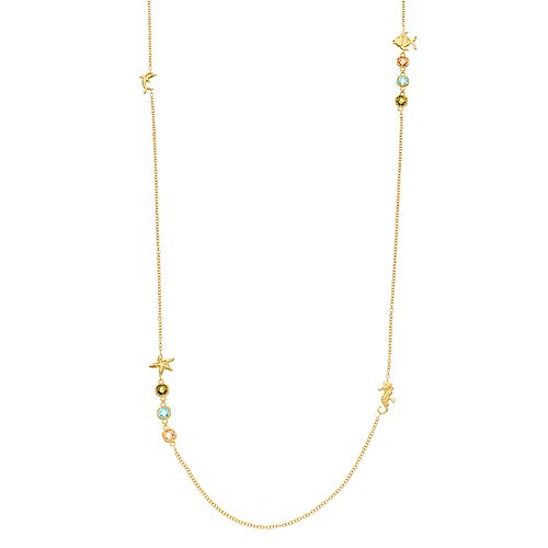14k Gold Over Silver Cubic Zirconia Nautical Station Necklace