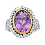 Sterling Silver & Gold Tone Oval Amethyst Ring