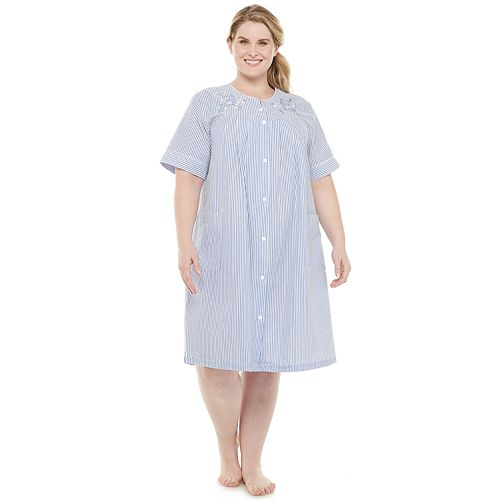 Plus Size Miss Elaine Essentials Seersucker Short Snap Robe
