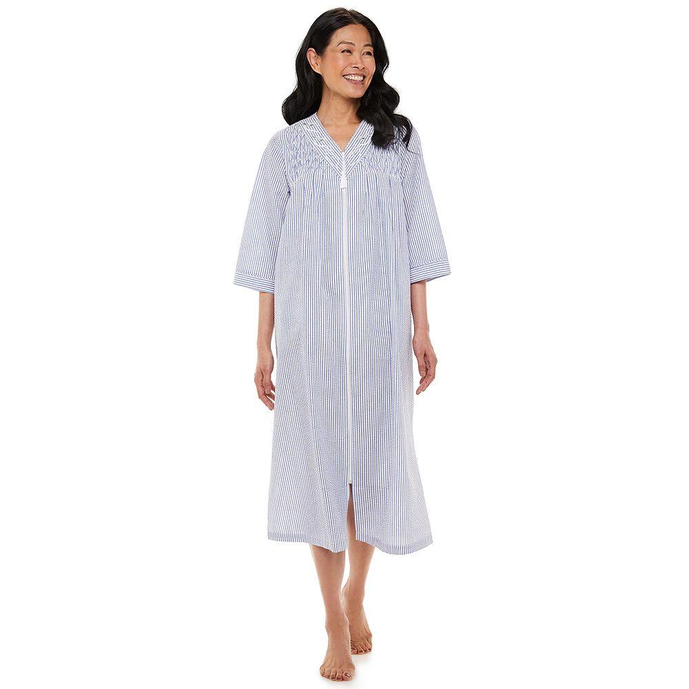 Women's Miss Elaine Essentials Seersucker Long Zipper Robe