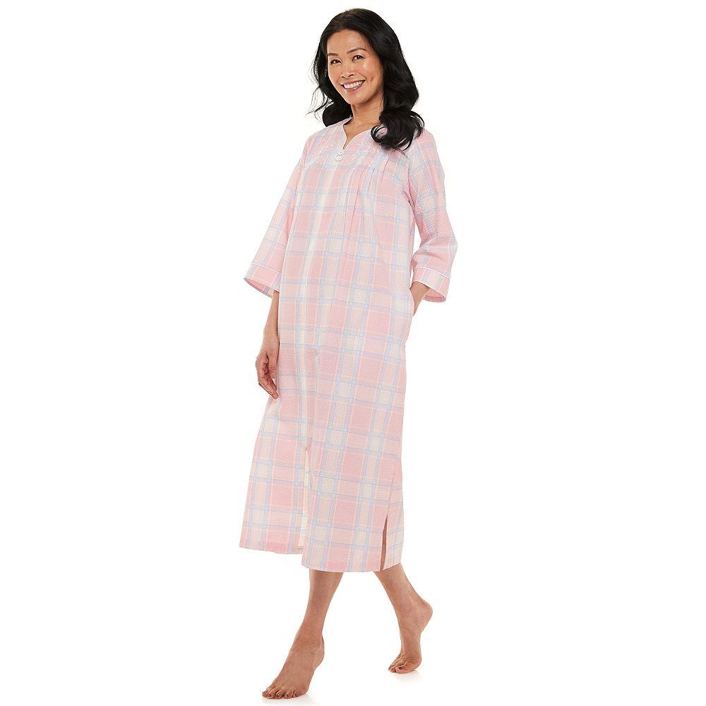 Petite Miss Elaine Essentials Seersucker Zip-Front Robe