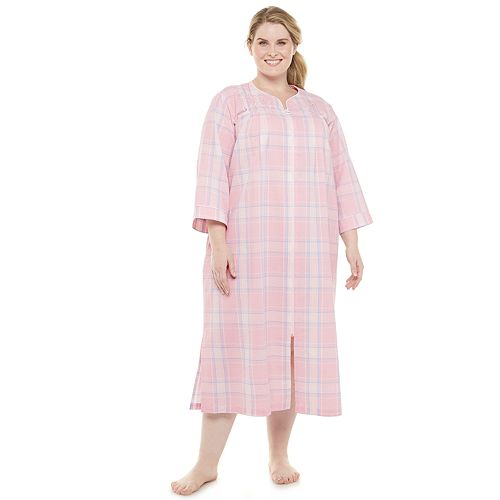 Plus Size Miss Elaine Essentials Seersucker Zip-Front Robe