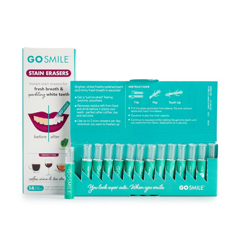 Get brighter, whiter, polished teeth and minty fresh breath in seconds with GO SMiLE. Get brighter, whiter, polished teeth and minty fresh breath in seconds with GO SMiLE. Prevents new stains from setting and helps to maintain your bright white smile Airtight applicator protects the potency of the whitening serum until it\\\'s applied Sugar-free and refreshing Fresh Mint flavor freshens your breath Easy to use patented Applicator Technology Paraben-free, Phthalate-free, Sulfate-free, BPA-free, Talc-free, Cruelty-free, Vegan friendly 28 one-time use applicators Manufacturer\\\'s 30-day limited warranty HOW TO USE Use one Stain Eraser after eating, drinking, or smoking to keep stains from setting into your teeth. Pull applicator from paper sleeve. Flip the applicator over and reinsert it into the sleeve with the applicator tip pointing outwards. Don\\\'t forget to reinsert the clear applicator into the white protective sleeve before squeezing. Center the applicator between thumb and index finger. With the applicator tip pointing down, squeeze firmly until the inner tube pops and tip is saturated with serum. You\\\'ve just activated the whitening serum. Make sure the applicator tip is pointing down and fully saturated almost to the point of dripping before applying. Apply directly to each tooth\\\'s surface in a circular motion. Avoid sensitivity by targeting away from the gum area. Continue to squeeze the applicator to move the serum out through the tip as you go! After applying, wait 20 minutes before you rinse, eat or drink. Due to its contents, this product cannot be shipped via our Priority Service or sent to Alaska, Hawaii, and/or APO/FPO military addresses. Size: One Size. Color: Multicolor. Gender: male. Age Group: adult.