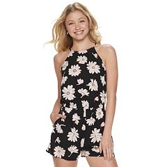 5efc29ea699 Juniors  SO® High-Neck Romper. Caviar Joy Floral Red Watermelons Black ...