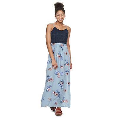 Junior's Live To Be Spoiled Crochet Top Maxi Dress