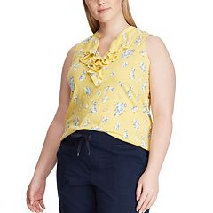 Womens Chaps Yellow Sleeveless Top