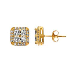 Pure Radiance 18k Gold Over Silver Lab-Created White Sapphire & Diamond Accent Square Stud Earrings